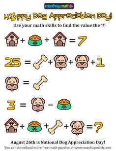 Dog day Math Literacy, Guided Math, Math Classroom, Teaching Math, Maths Algebra, Math Logic Puzzles, Math Games, Math Activities, Google Math