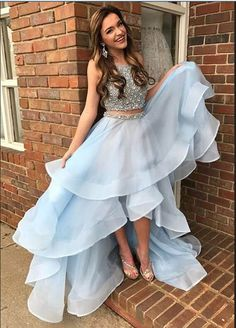 Two Pieces Prom Dress,Light Blue Prom Dress,Prom Dresses For Teens,Evening Dresses.Party Dresses,Sparkly Prom Dresses,Prom Dresses 2017,Women Dresses,Party Prom Dresses,Cute Dresses