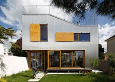 Cool French House Exterior Corrugated Aluminium Facade Roof Top Terrace Windows Composition Fence Wood Garden