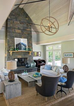 House of Turquoise: Martha's Vineyard Interior Design. family room with cathedral ceilings. home decor and interior decorating ideas. House Of Turquoise, Luxury Interior Design, Interior Exterior, Interior Doors, Contemporary Interior, Living Room Inspiration, Coastal Living, Cozy Living, Coastal Style