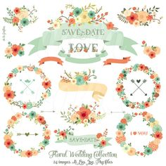 Floral Wedding Collection. Wedding Flower Clipart. Floral Wreaths, Banners, Arrows, Lettering. 24 images. 300 dpi. AI, Eps, Jpg, Png files