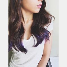 Purple dip dye hair on brunette hair using Ion Color Brilliance. Something new but not crazy