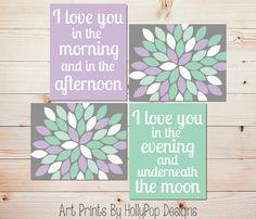 I Love You in the Morning Baby Girl Nursery Wall Art Purple Mint Gray Nursery Decor Girls Room Wall Art Modern Floral Burst Art Prints 1178
