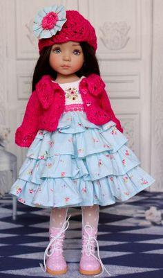 "OOAK Embroidered & Knitted Ensemble for Effner 13"" Little Darling Dolls"