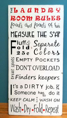 Laundry Room Subway Art Wash Dry Fold Repeat Wall Sign Home Gift