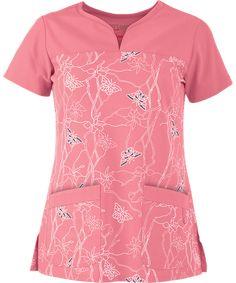 GA2117FL Cute Scrubs Uniform, Scrubs Outfit, Greys Anatomy Scrubs, 4 Way Stretch Fabric, Flamingo Print, Fashion Sewing, Women's Fashion, Scrub Tops, Womens Fashion For Work