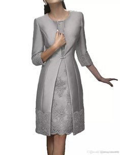 Elegant Sheath Short Mother Formal Wear With Jacket Evening Satin Lace Party Wedding Guest Dress 2018 Mother Of The Bride Dress Suit Gowns Vintage Wedding Guest Dresses, Wedding Party Dresses, Lace Wedding, Party Wedding, Gown Wedding, Bridal Dresses, Mother Of The Bride Dresses Long, Mothers Dresses, Gown With Jacket