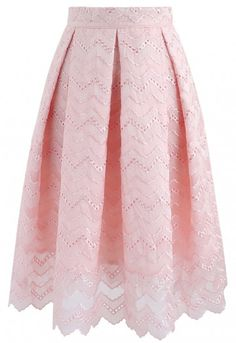 We're totally sweet on this wavy embroidered pleated skirt boasting an A-line silhouette and subtly scrolled hemline. - Zigzag pattern embroidery - Pleats from waist - Eyelet detail - Scrolled hemline - Concealed side zip closure - Lined - 100% polyester - Hand wash Size(cm) Length Waist XS 63 62 S 64 66 M 65 70 L 66 74 XL 67 78 XXL 68 ...