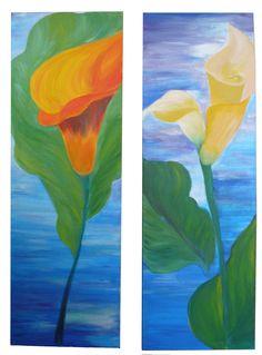 "For Sale: California: Orange Lily, Yellow Lilies by z  | $250 | 24""w x 36""h | Original Art | http://www.vangoart.co/buy/art/california-orange-lily-yellow-lilies @VangoArt"