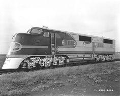 """ATSF Railway - EMD E1A Diesel-Electric Passenger Locomotive - Santa Fe Warbonnet Livery - Nicknamed """"Shovelnose"""" - 1937"""