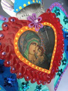 Mexican tin metal nicho shrine shadowbox/ sacred heart/ Mexican folk art / rainbow / wedding gift xmas gift/ heart with wings by TheVirginRose on Etsy https://www.etsy.com/listing/260203100/mexican-tin-metal-nicho-shrine-shadowbox