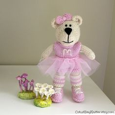 "Hand Knitted Ballerina Bear  Extra Big 11"" Tall by cotuitbayknitter.etsy.com"
