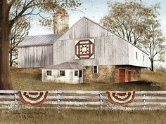 American Star Quilt Block Barn by Billy Jacobs Country Barn Framed Art Print Picture Barn Pictures, Canvas Pictures, Print Pictures, Country Barns, Old Barns, Primitive Country, Primitive Decor, Country Life, Prim Decor