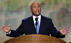 Massachusetts Gov. Deval Patrick addresses the Democratic National Convention in Charlotte, N.C., on Tuesday, Sept. 4, 2012. (AP Photo/J. Scott Applewhite)