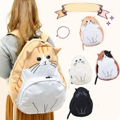 Cute kawaii cat canvas backpack ❤️ ★ Learn about #cats & Get cute #cat #stationery at Ozzi Cat: Cat Magazine & Cat Stationery! Visit Now >> http://OzziCat.com.au ★ ❤️
