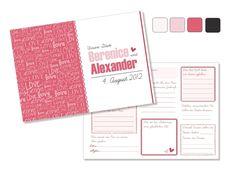 """Gästebuch """"Love"""" mit Fragen an die Gäste (PDF) von Be-Nice-4-You auf DaWanda.com"""