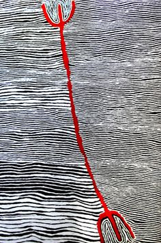 Mina Mins Hair String Story by Judy Napangardi Watson | Exhibition - Black and White At NG Gallery | Australian Aboriginal Paintings and Artworks