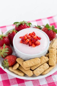Strawberry Cheesecake Dip - an easy dessert recipe with fresh strawberry flavor! Serve it with fresh fruit and graham crackers for a sweet treat!