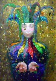 """""""Golden Rain"""" - Nizovtsev. I think the concept of this court jester is an interesting one, depicted in different ways across literature, film and art. I wonder if I can find something a little easier to draw or recreate with as much ambiguity behind it."""