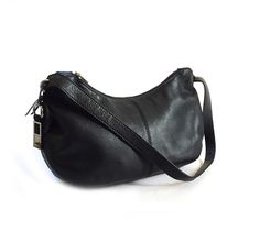 Rolfs Black Leather Shoulder Bag Purse by lakesidecottage on Etsy