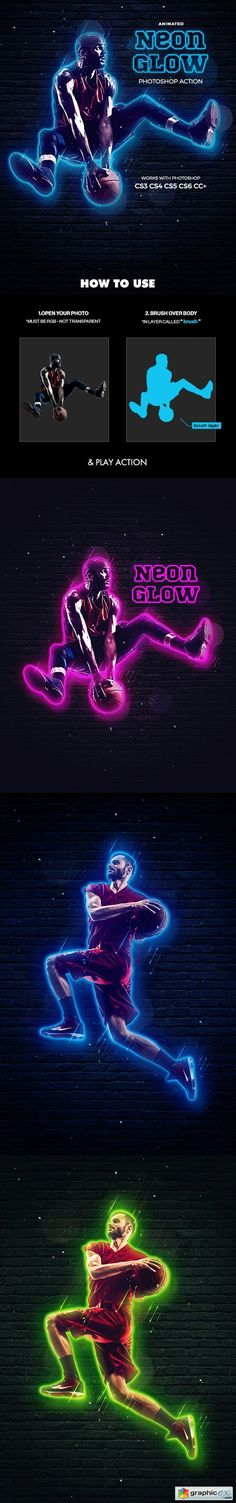 Neon Glow Photoshop Action - Animated