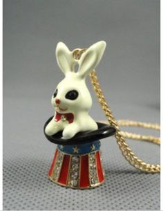 N27 Betsey Johnson Magic Bunny Rabbit with Uncle Sam Hat Magician Necklace | eBay   £3.99