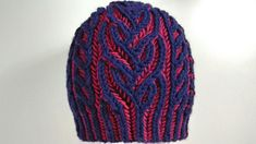 Interweave hat, two-color brioche stitch knitting pattern with Italian/t...