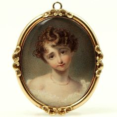 """Portrait Miniature of a Young Lady with brown locks cascading wearing a coral necklace British c1780 in a gold frame 1.5"""""""