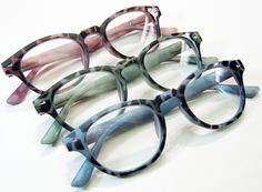 'Leopard' Reading Glasses. A light weight hipster hornrim frame with character. In Pink leopard, Green leopard, and Denim Blue leopard.