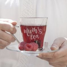 A beautiful engraved glass tea cup with chrome handle and matching glass saucer, expertly engraved here on the Isle of Wight, UK. Personalised Gifts For Girlfriend, Christening Bracelets, Glass Tea Cups, Chrome Handles, Tea Cup Saucer, Pint Glass, Tea Time, Just For You, Make It Yourself