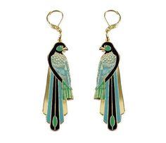 La Libertad Bird Long Tail Gold plated and Enamel 3 in Long Earrings  Price : $60.20 http://www.freesiarose.com
