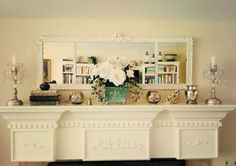 rectangular old  mirror painted cream + cream ornate mantle + 2 matching delicate silver candelabras