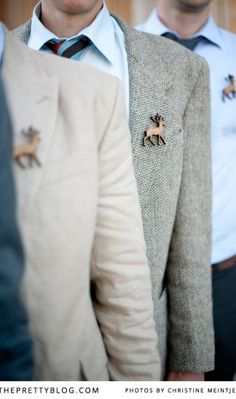 Deer boutonnieres, I like the idea of a pin instead of flowers!