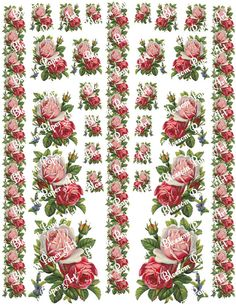 Vintage Roses Scrapbooking Paper - Digital Collage Sheet - Printables - Decoupage - Download Image - 8.5 x 11 inches - 300 dpi