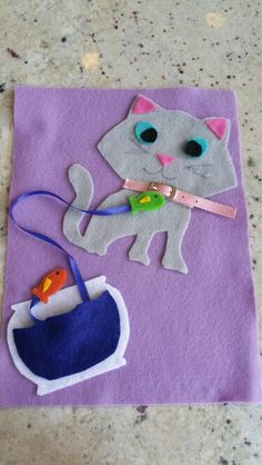 Cat collar buckle page with fishies for quiet book