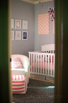 Nursery Ideas - Love the frames and fabric blocks - {Client Room} Megan's Nursery Reveal