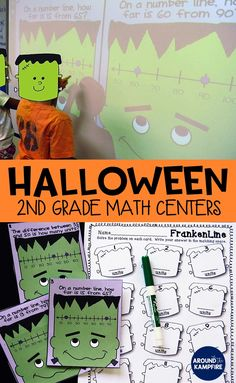 These fun 2nd grade math centers are perfect for October math practice or a Halloween math party! Your second graders practice addition and subtraction of 2 or 3-digit numbers, working with number lines, missing addends, place value, the associative property, money, time, number words to 100, expanded form and decomposing numbers.