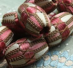 french passementerie | antique French silk bobble pink cream by duchesstrading on Etsy ...