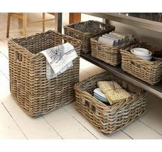 Excellent value chunky woven wicker baskets available three sizes. Rattan Storage Baskets come in a lovely greyish tint, and are available in three excellent sizes with a whole host of practical applications. Rectangular Baskets, Square Baskets, Large Baskets, Kitchen Baskets, Bathroom Baskets, Kitchen Storage, Bathroom Ideas, Zen Bathroom, Pantry Storage