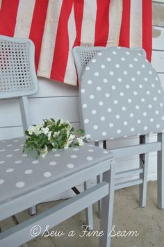 Such a cute makeover of these folding chairs with the chalk paint. from sew a fine seam blog