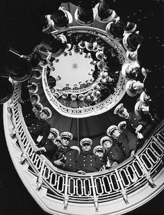 Low Angle of Cadets at Naval Academy Lining Stairway in Maury Hall © Alfred Eisenstaedt