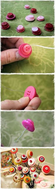 Button flowers- cute for spring.i'm going to look for scalloped buttons to… Cute Crafts, Crafts To Make, Crafts For Kids, Arts And Crafts, Diy Crafts, Cute Diys, Handmade Flowers, Diy Flowers, Fabric Flowers