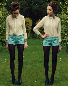 sequined collar top with aqua shorts and tights