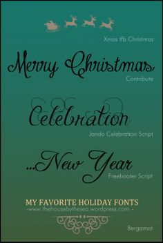 Here are few fonts I really like, I put them together like that so I can easily remember their name next time I need a festive font for Christmas // The House By The Sea
