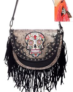 Fringed Sugar Skull Messenger Bag~Day of the Dead~Conceal Carry Purse~Punk~Goth #CowgirlTrendy #MessengerCrossBody