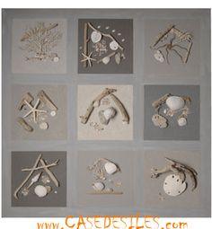 Tableau relief bois flotte : Tableau relief galet bois flotté 80cm Cendre