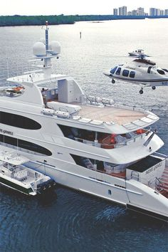 Private chopper landing on luxury private yacht. ~ seirra echo #yachtlifestyle