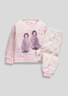 Girls Fleece Penguin Pyjama's (12mths-5yrs)