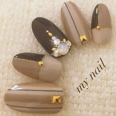 For nail photos registered in the nail book, … - Nail Designs Simple Nail Art Designs, Gel Nail Designs, Nude Nails, Nail Manicure, Brown Nail Art, Brown Nails, Color Block Nails, Self Nail, Bridal Nail Art