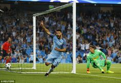 Sergio Aguero scored three as Manchester City beat Gladbach 4-0 in the Champions League